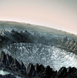 Imagen artística de como un impacto de meteorito podría dejar al descubierto la capa de diamante. Ilustración: moddb