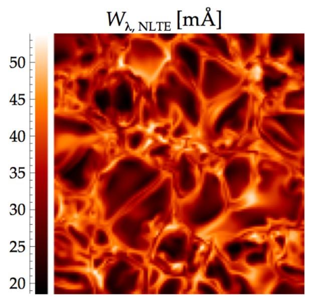 Esta visualización de una simulación de la radiación hidrodinámica ilustra cómo la fuerza de la línea de litio varía a través de la superficie de una atmósfera estelar pobre en metales. Crédito: MPA