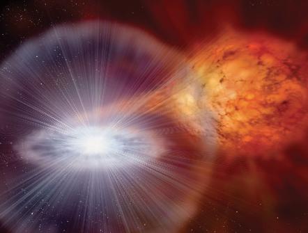 Representación artística de formación de supernova Ia