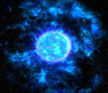 Ilustración de una estrella Wolf-Rayet. Los intensísimos vientos estelares hacen que la estrella sea parcialmente inestable y pueda expulsar capas al exterior, quedando envuelta por material estelar expulsado