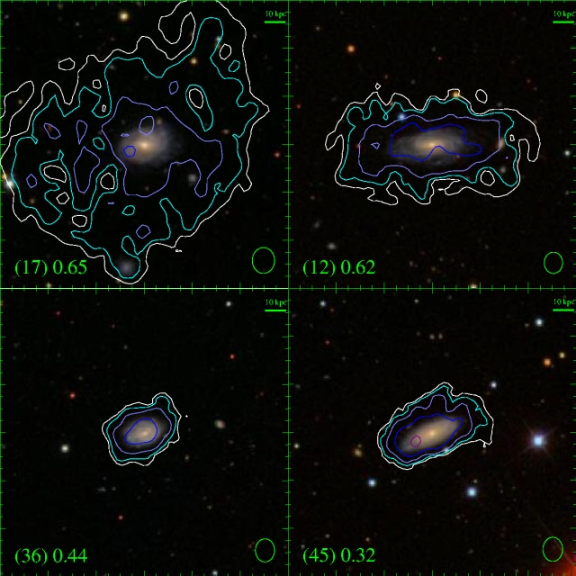 """Mapa de gas de algunas galaxias estudiadas en el proyecto """"Disco Azul"""""""